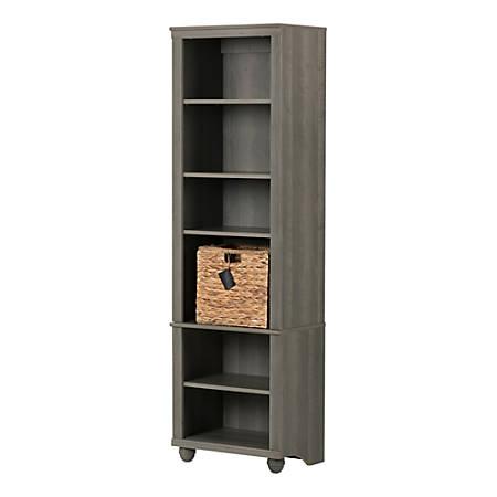 South Shore Hopedale Narrow 6-Shelf Bookcase, Gray Maple/Beige