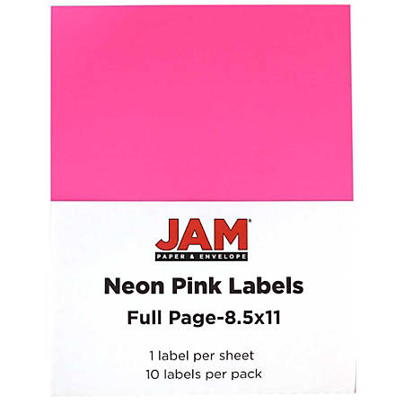 "JAM Paper® Full-Page Mailing And Shipping Labels, 337628614, 8 1/2"" x 11"", Neon Pink, Pack Of 10"