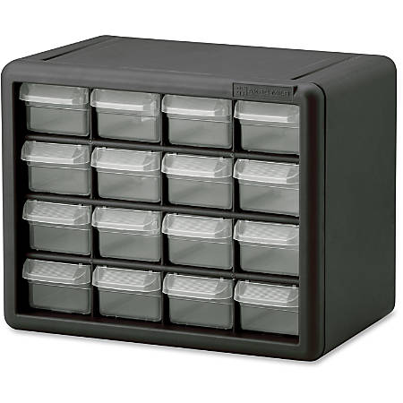 """Akro-Mils 16-Drawer Plastic Storage Cabinet - 16 Drawer(s) - 8.5"""" Height x 6.4"""" Width - Floor, Wall Mountable - Black, Clear - Polymer, Plastic - 1Each"""