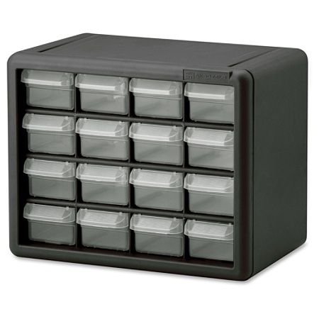 Akro Mils 16 Drawer Plastic Storage Cabinet Drawers 8 5 Height X 6 4 Width Floor Wall Mountable Black Clear Polymer 1each By Office Depot