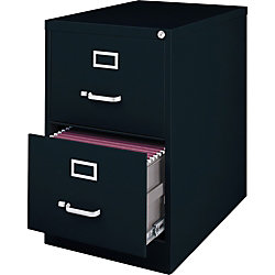 Lorell® Fortress Series 28 1/2''D 2-Drawer Legal-Size Steel Vertical File Cabinet, Black