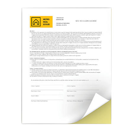 "Xerox® Revolution™ Premium Digital Carbonless Paper, 2-Part Straight/Reverse, Letter Size (8 1/2"" x 11"")/Canary, Case Of 2,500 Sets"