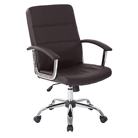 Office Star™ Avenue Six Malta Vinyl Mid-Back Chair, Espresso/Silver
