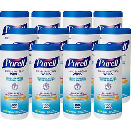 Purell® Textured Sanitizing Wipes, Fresh Citrus, Tub Of 100 Wipes