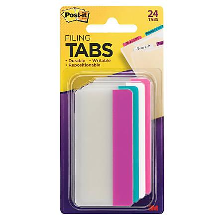"Post-it® Durable Filing Tabs, 3"" x 1"", Assorted Colors, 24 Flags Per Pad"