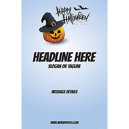 Adhesive Sign, Blue Halloween, Vertical