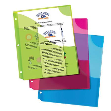 Avery® Corner Lock™ 3-Pocket Binder Pockets, 20 Sheet Capacity, Assorted Colors, Pack Of 3