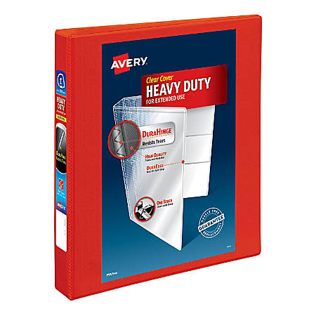 """Avery® Heavy-Duty View Binders with Locking One Touch EZD Rings, 1"""" Rings, Red"""