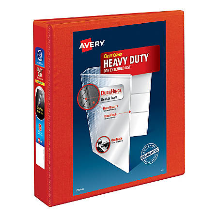 """Avery® Heavy-Duty View Binders with Locking One Touch EZD Rings, 1 1/2"""" Rings, Red"""