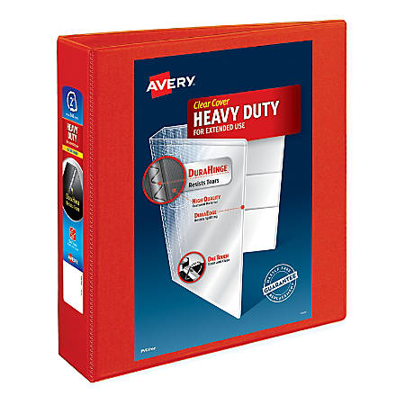 """Avery® Heavy-Duty View Binders with Locking One Touch EZD Rings - 2"""" Binder Capacity - Letter - 8 1/2"""" x 11"""" Sheet Size - 540 Sheet Capacity - D-Ring Fastener(s) - 4 Internal Pocket(s) - Poly - Red - Recycled - 1 Each"""