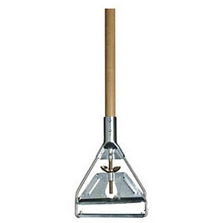 """Carlisle Wood Mop Handle With Metal Head, 63"""", Brown"""