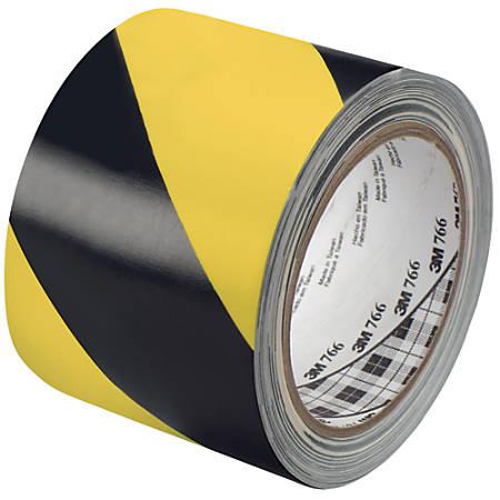 "3M™ 766 Striped Vinyl Tape, 3"" Core, 3"" x 36 Yd., Black/Yellow, Case Of 2"