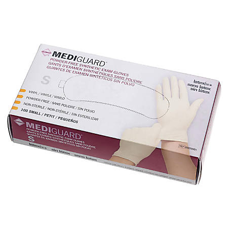 MediGuard Powder-Free Vinyl Synthetic Exam Gloves, Small, Cream, 100 Gloves Per Box, Case Of 10 Boxes