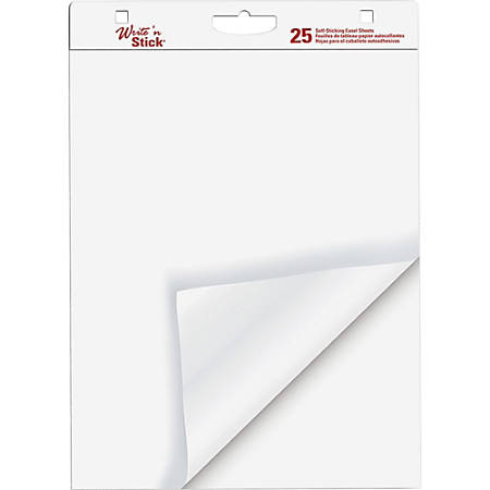 """Adams Write 'n Stick Easel Pad - 25 Sheets - 20 lb Basis Weight - 20"""" x 23"""" - White Paper - Self-adhesive, Bleed-free, Built-in Carry Handle, Punched - Recycled - 6 / Carton"""