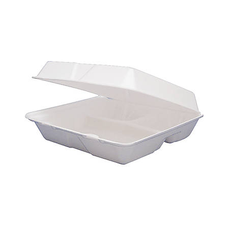 """Dart Carryout Food Containers, 3 Compartments, 8 1/2"""" x 8"""" x 3 3/8"""", White, Pack Of 200"""