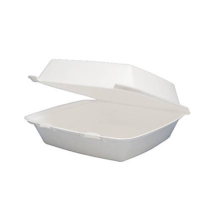 """Dart Carryout Food Containers, Foam-Hinged, 1 Compartment, 9 1/2"""" x 9 1/4"""" x 3"""", White, Pack Of 200"""