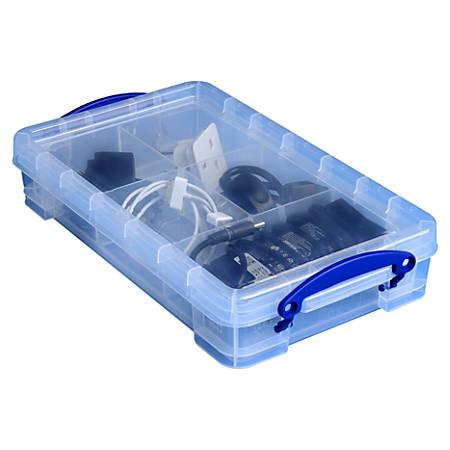"Really Useful Box® Plastic Storage Box, 2.5 Liters, 13 3/8"" x 8"" x 2 3/4"", Clear"
