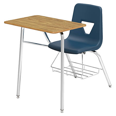 Lorell® Classroom Student Combo Desk, Rectangular-Top, Navy/Medium Oak Item  # 352580