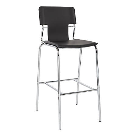 "Ave Six Dorado 44 1/2""H Barstools, Black/Chrome, Set Of 2 Stools"