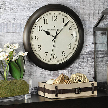 """FirsTime® Slim Wall Clock, 11"""", Oil-Rubbed Bronze"""