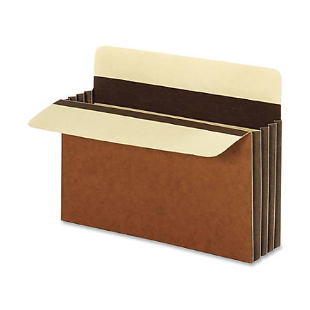 "Pendaflex® File Pockets, Heavy-Duty, Extra-Wide Accordion, Letter Size, 3 1/2"" Expansion, Brown, Box Of 10"