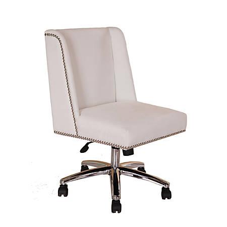 Boss Decorative Velvet Mid-Back Task Chair, White/White