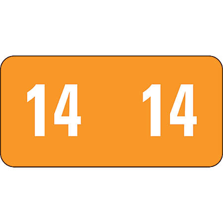 """Smead® Permanent Color-Coding Yearly Labels, 67914DUP, 2014, 1"""" x 1/2"""", Orange, Pack Of 250"""