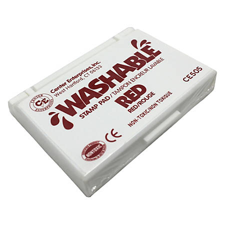 "Center Enterprise Washable Stamp Pads, 2 1/4"" x 3 3/4"", Red, Pack Of 6"