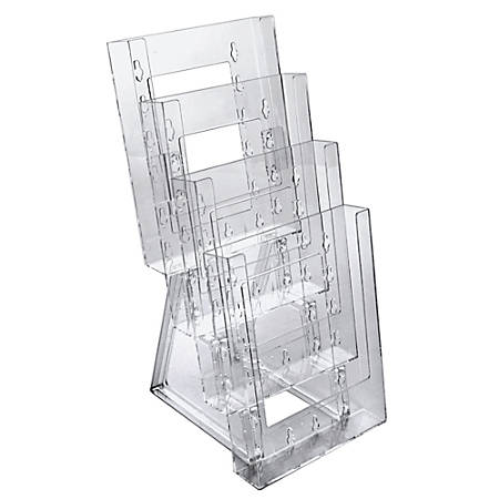 """Azar Displays 4-Pocket Crystal Styrene Tiered Modular Brochure Holders, 13 1/4""""H x 6 1/4""""W x 7 1/2""""D, Clear, Pack Of 2"""