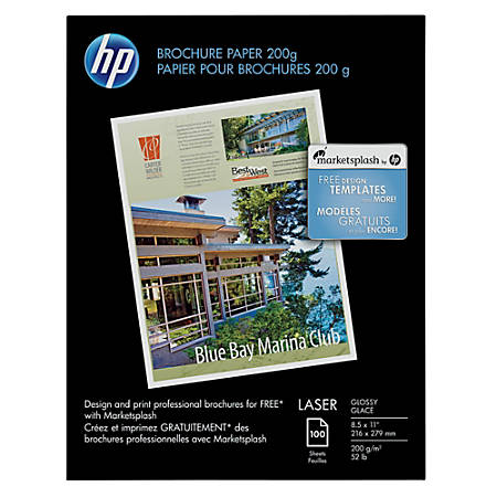 hp color laser glossy brochure paper 8 12 x 11 pack of 100 sheets by