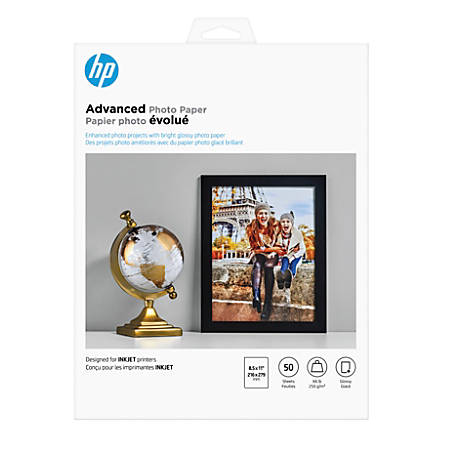 "HP Advanced Photo Paper, 8 1/2"" x 11"", 10.5 Mil, Pack Of 50 Sheets"