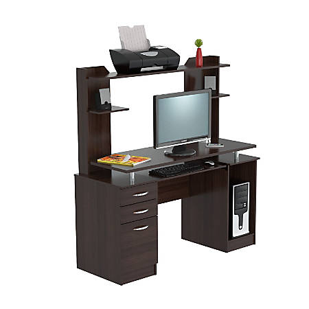 Inval Credenza/Computer Workcenter With Hutch, Espresso-Wengue