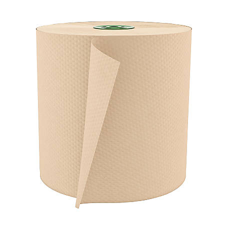 """Cascades® 100% Recycled Hardwound 1-Ply 7 1/2"""" Roll Towel For Tandem®, 775', Moka, 6 Rolls Per Case"""