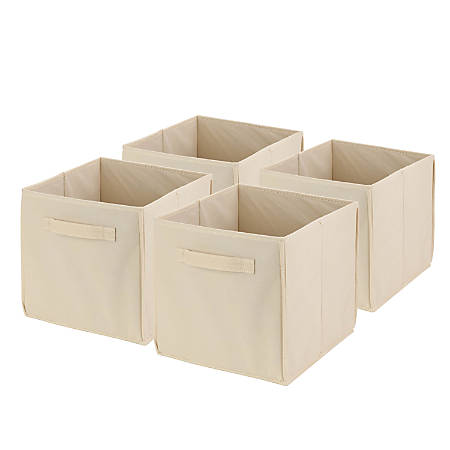 """Honey-Can-Do Non-Woven Foldable Cubes, 11 7/16""""H x 10 5/8""""W x 10 5/8""""D, Natural, Pack Of 4"""