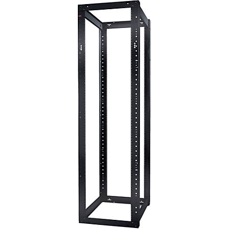 "Schneider Electric NetShelter 4 Post Open Frame Rack 44U #12-24 Threaded Holes - 44U Rack Height x 19"" Rack Width - Floor Standing - Black - 2004.20 lb Static/Stationary Weight Capacity"