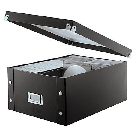 "Snap-N-Store® Doublewide CD/DVD Storage Box, 13 3/4"" x 10 5/8"" x 6 1/4"", Black"
