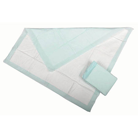 "Protection Plus Polymer Disposable Underpads, 36"" x 36"", Green, 5 Per Bag, Case Of 10 Bags"