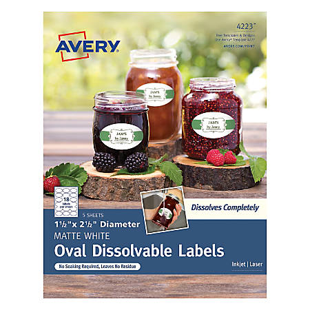 "Avery® Dissolvable Labels, 4223, Oval, 1 1/2"" x 2 1/2"", White, Pack Of 90"