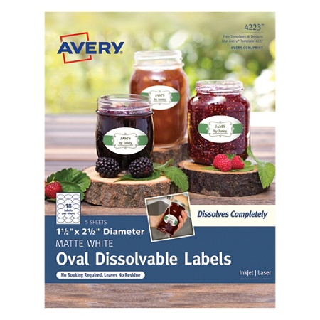 avery dissolvable labels 4223 oval 1 12 x 2 12 white pack of 90 by