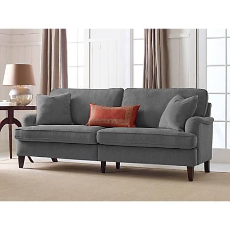 "Serta Carlisle Sofa With Pleated Arms, 78"", Gray"