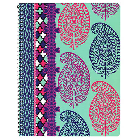 """Top Flight Poly Cover Notebook, 8"""" x 10 1/2"""", 1 Subject, College Ruled, 160 Pages (80 sheets), 60% Recycled, Assorted Medallion Ethnic Designs (No Design Choice)"""