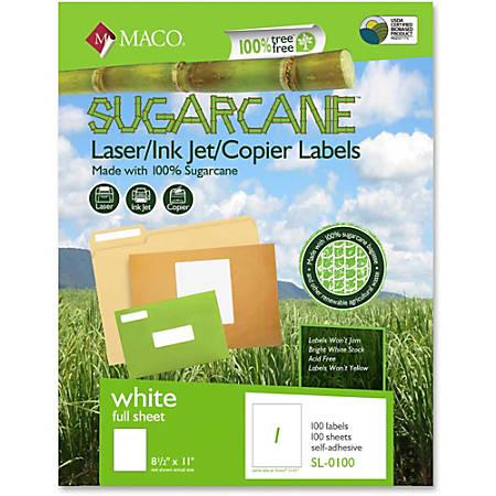"MACO® Laser/Ink Jet/Copier Sugarcane Full Sheet Labels, MACMSL0100, Permanent Adhesive, 8 1/2""W x 11""L, Rectangle, White, Box Of 100"