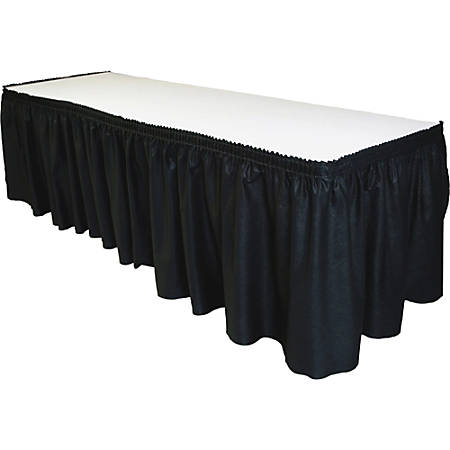 "Tablemate Disposable Tableskirt - 29"" Length x 14 ft Width - Adhesive Backing - 1 Each - Linen - Black"