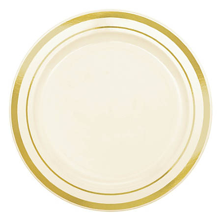 "Amscan Trimmed Premium Plastic Plates, 6-1/4"", Cream/Gold, Pack Of 40 Plates"