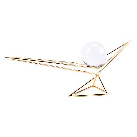 """Zuo Modern Origami Orb Sculpture, 7 3/4""""H x 20 1/8""""W x 3 15/16""""D, Gold"""