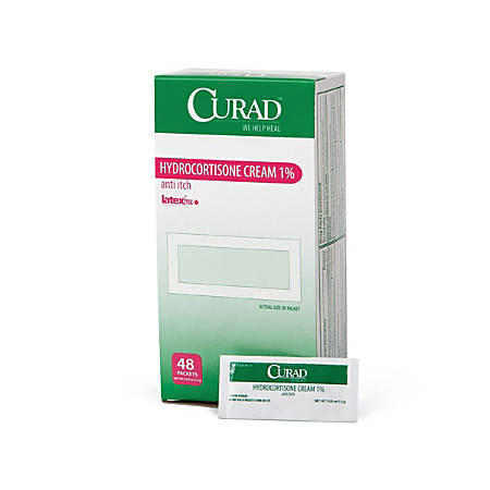 CURAD® Hydrocortisone Cream, 0.05 Oz Foil Packets, Pack Of 288