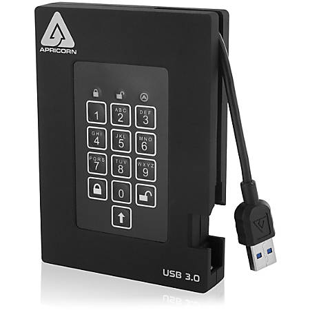 Apricorn Aegis Padlock A25-3PL256-1000F 1 TB Hard Drive - External - Portable