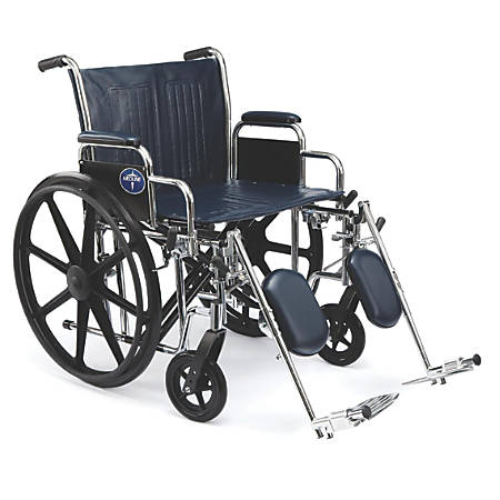 "Medline Extra-Wide Wheelchair, Elevating, 24"" Seat, Navy/Chrome"