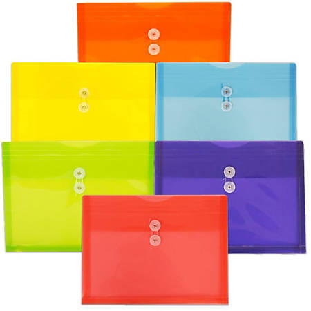 "JAM Paper® Plastic Letter Booklet Envelopes With Button & String Closures, 9-3/4"" x 13"", Assorted Colors, Pack Of 6 Envelopes"