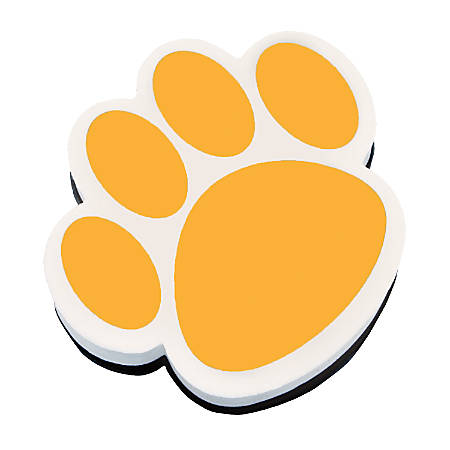 """Ashley Productions Magnetic Whiteboard Erasers, 3 3/4"""", Gold Paw, Pack Of 6"""